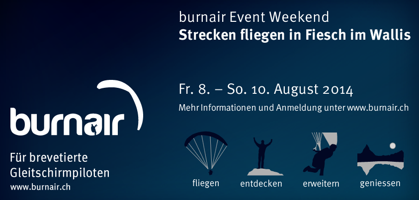 burnair Event Weekend Strecken fliegen in Fiesch im Wallis