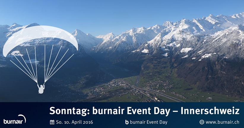 "burnair Event Day - 10. April 2016 - Tour ""Innerschweiz"""