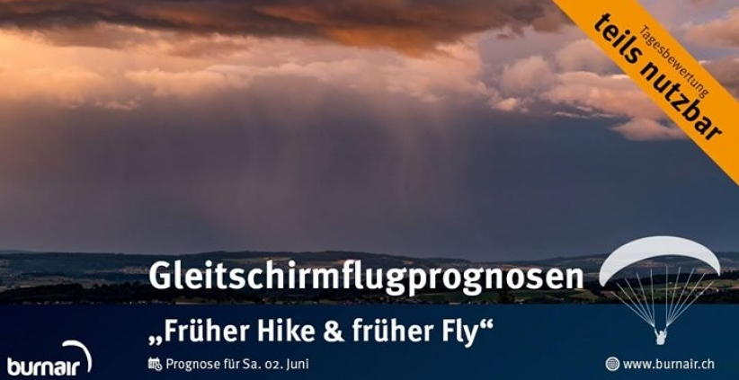 burnair Gleitschirmflugprognosen für Sa. 02 Juni 2018 Ein Tag für