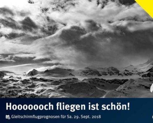 """burnair Gleitschirmflugprognose für Samstag 29. Sept. Wunderschön """"warm"""" 0-Grad Grenze"""